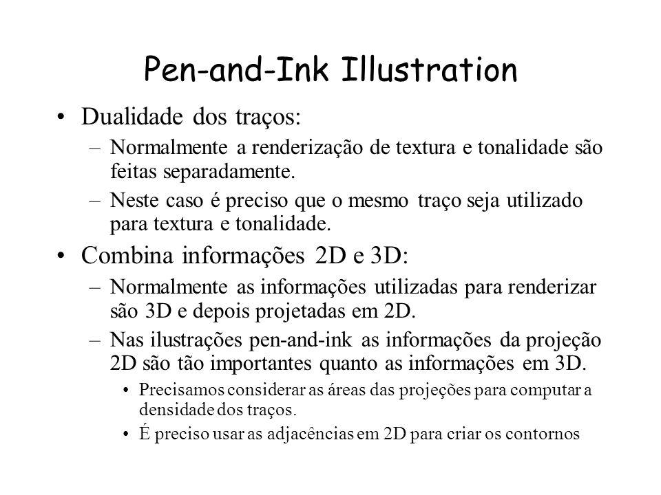 Pen-and-Ink Illustration Propriedades dos desenhos: –A pena não tem variação de cor ou tonalidade, todo sombreamento deve ser feito utilizando traços.