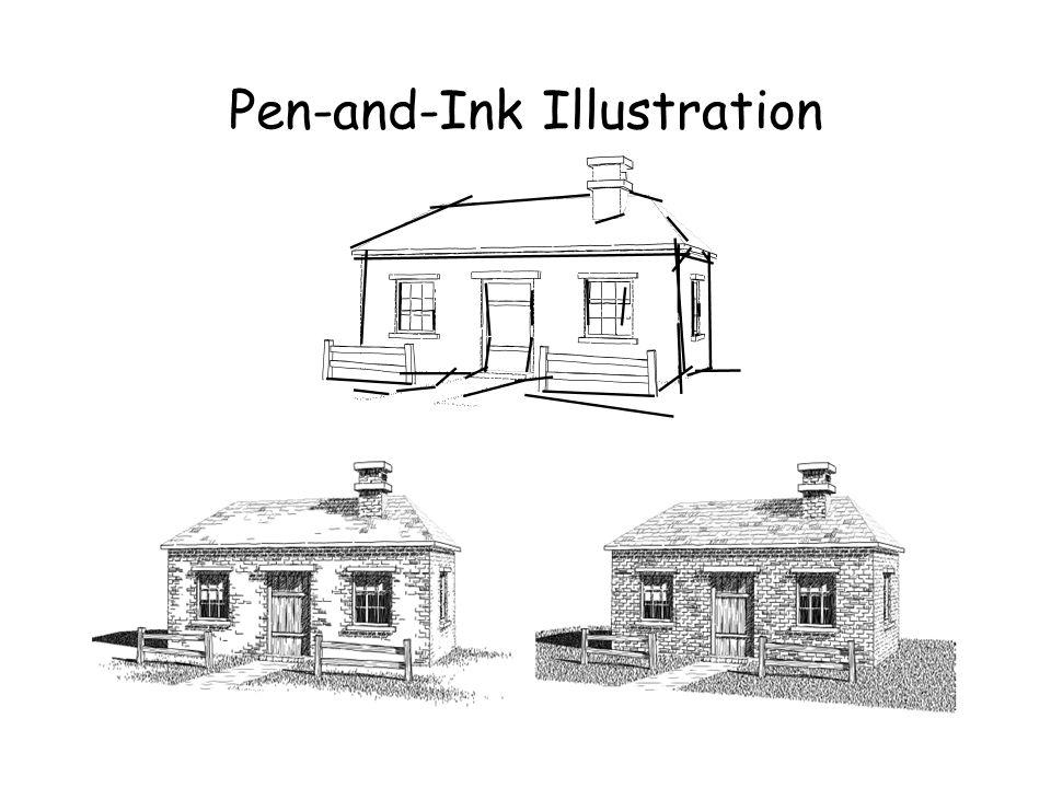 Pen-and-Ink Illustration Indicação : Em uma ilustração é importante que a idéia da textura seja passada sem que seja necessário desenhar todos os traç