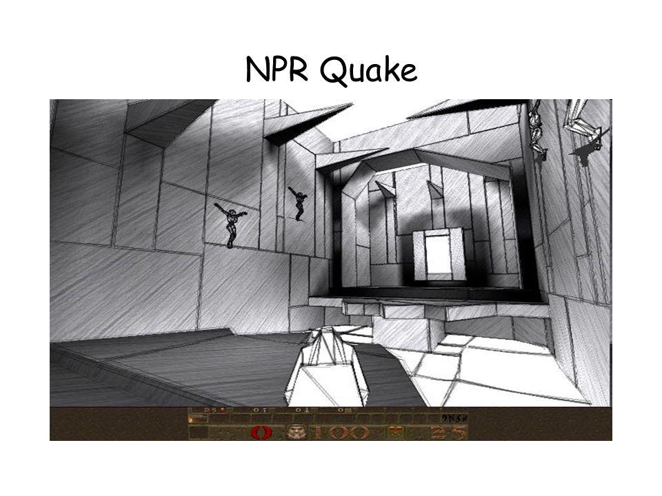 NPR Quake Sketch: –Simulação de uma pessoa rascunhando o cenário rapidamente –Primeiro desenha os polígonos da parede –Desenha um número arbitrário de