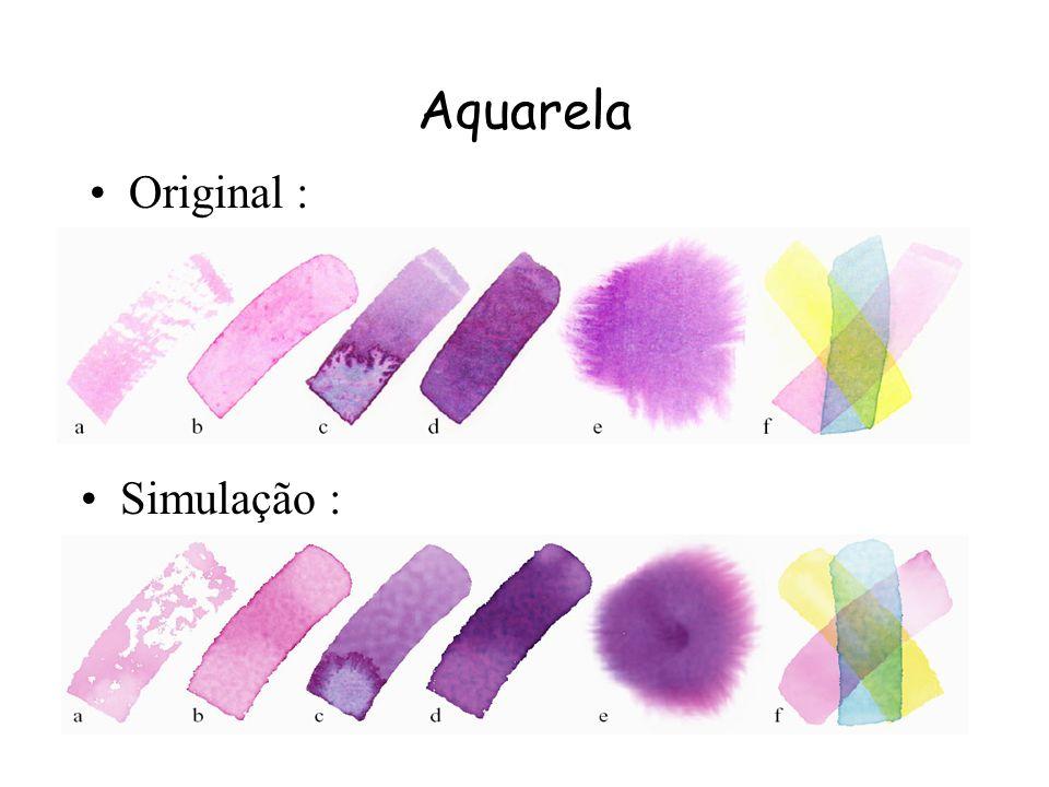 Aquarela Efeitos (cont.) : –d) Granulação : Quando o pigmento utilizado é granulado ele realça as variações de altura do papel. –e) Flow patterns : Qu
