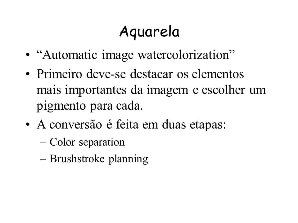 Aquarela Os pigmentos são criados utilizando um coeficiente de absorção e um de espalhamento para cada componente RGB. Estes coeficientes são escolhid