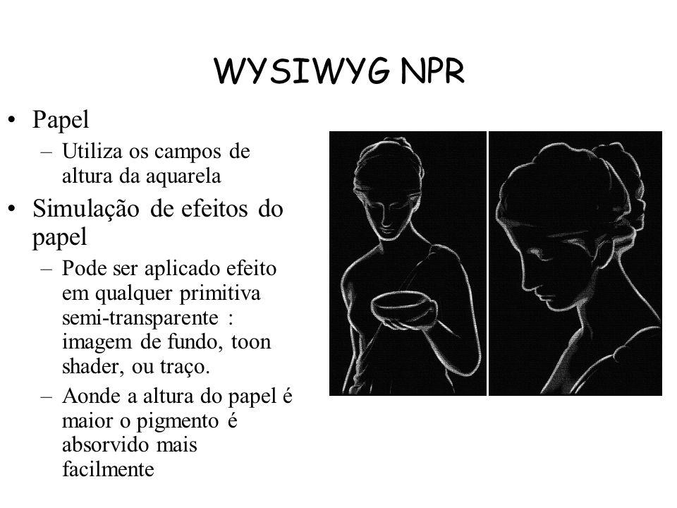 WYSIWYG NPR Traços : –O caminho do traçado é representado como uma spline CatmullRom. –Renderizados como triangle strips que seguem o traçado. –Como o