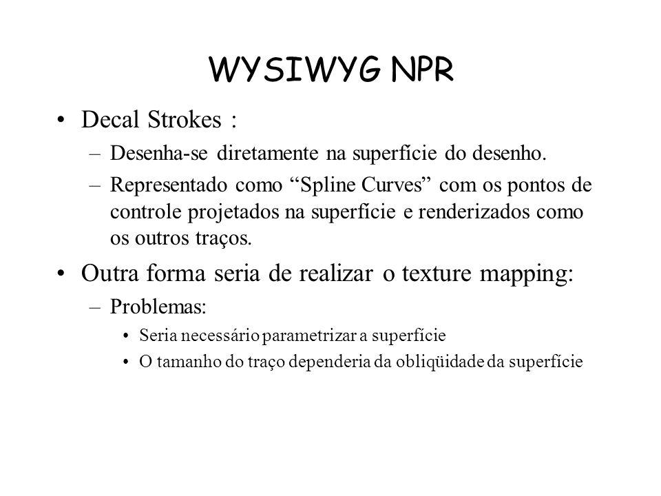 WYSIWYG NPR Papel –Utiliza os campos de altura da aquarela Simulação de efeitos do papel –Pode ser aplicado efeito em qualquer primitiva semi-transpar