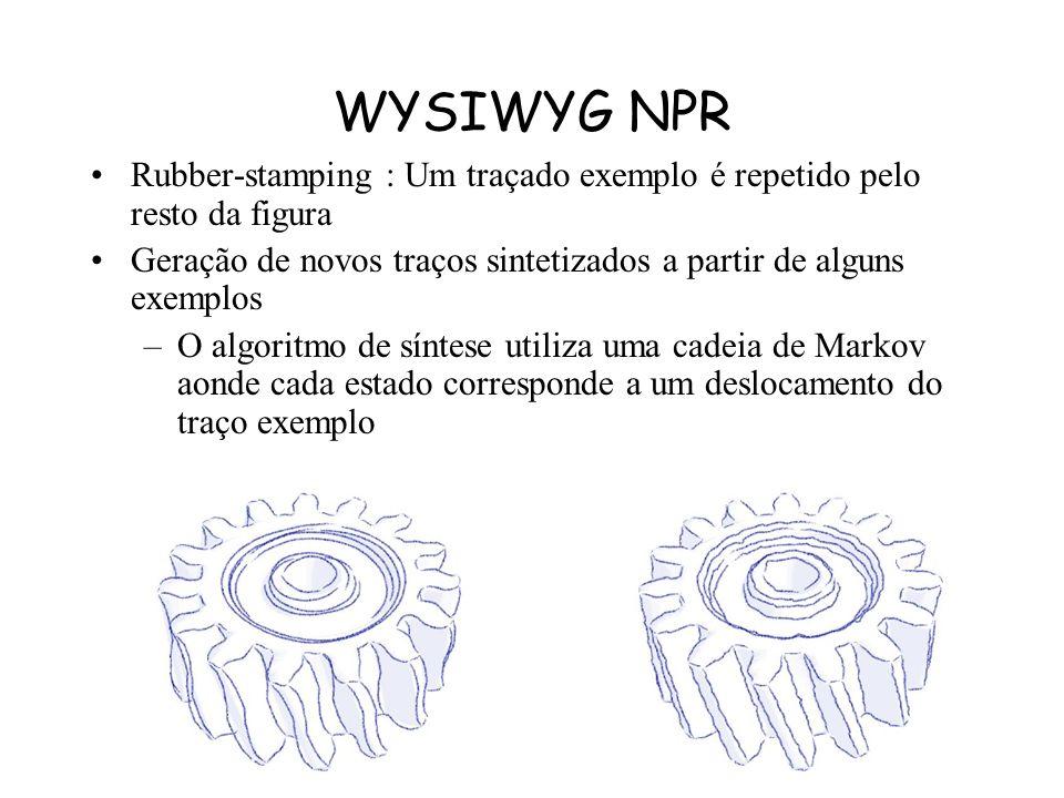 WYSIWYG NPR As bordas do objeto podem ser redesenhadas a partir de alguns traços de exemplo. Uma lista é gerada com cada vértice do traçado e um deslo