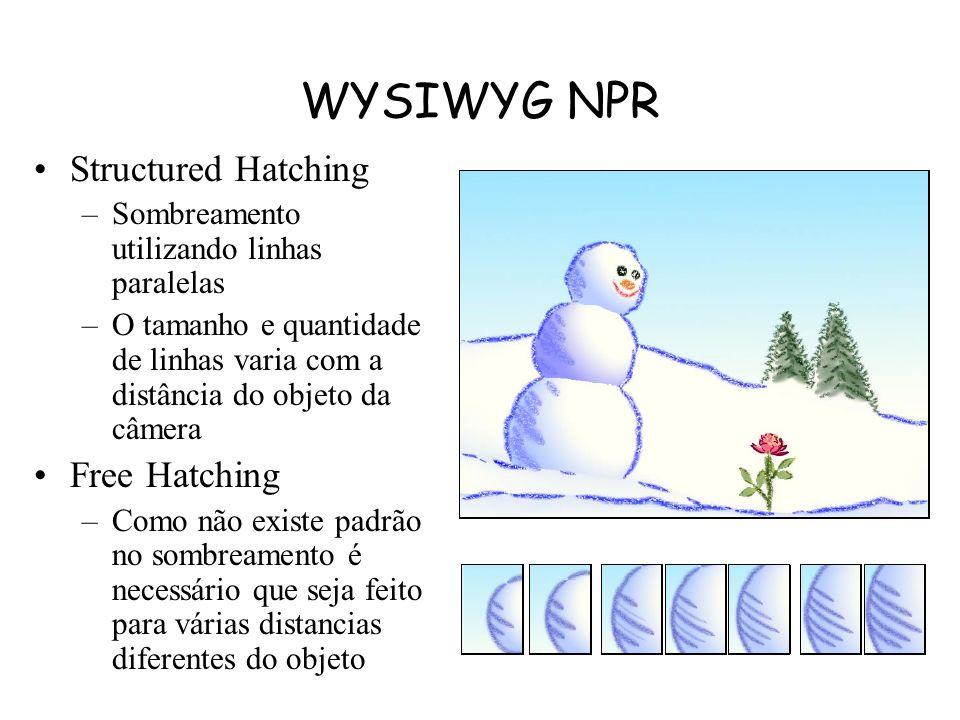 WYSIWYG NPR Silhueta, diferentemente das dobras de um objeto, são dependentes do ângulo de visão. Um traço padrão de silhueta é desenhado, quando uma