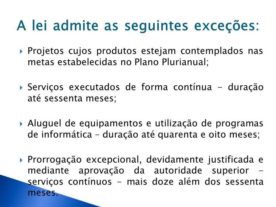 A lei admite as seguintes exceções: Projetos cujos produtos estejam contemplados nas metas estabelecidas no Plano Plurianual; Serviços executados de f