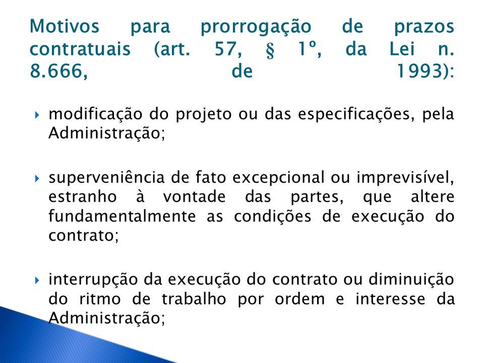 Motivos para prorrogação de prazos contratuais (art. 57, § 1º, da Lei n. 8.666, de 1993): modificação do projeto ou das especificações, pela Administr