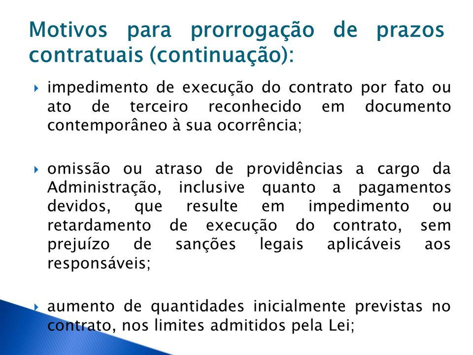 Motivos para prorrogação de prazos contratuais (continuação): impedimento de execução do contrato por fato ou ato de terceiro reconhecido em documento
