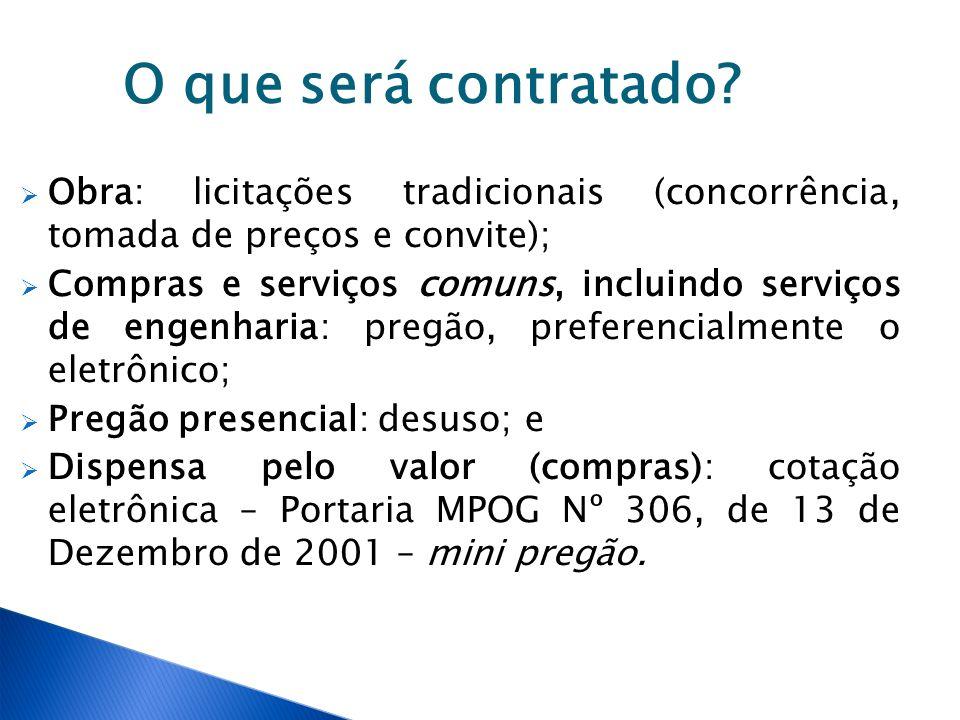 Valor da contratação Licitação exclusiva para ME, EPP e, quando for o caso, COOP: até R$ 80.000,00; Ampla competição: acima de R$ 80.000,00; O que considerar: item ou valor total da contratação – jurisprudência do TCU - novo entendimento do DECOR/AGU - Parecer nº 01/2013/GT/Portaria nº 11, de 10 de agosto de 2012 - é o valor do item/grupo que é determinante, independentemente do valor total da contratação;