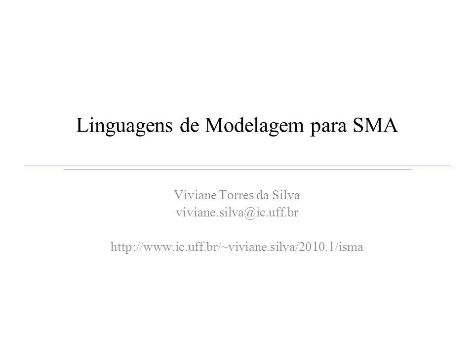 Linguagens de Modelagem para SMA Motivação: necessidade de modelagem das entidade de um SMA (agentes, organizações, objetos,...) –UML não dá suporte para a modelagem de SMA –Agentes e objetos possuem características / propriedades diferentes Objetivo: propor uma linguagem onde os elementos de primeira ordem fossem as entidades de um SMA Solução: linguagens de modelagem que estendem UML –AUML, AORML, Transformação de Modelos + UML, MAS-ML, AML....