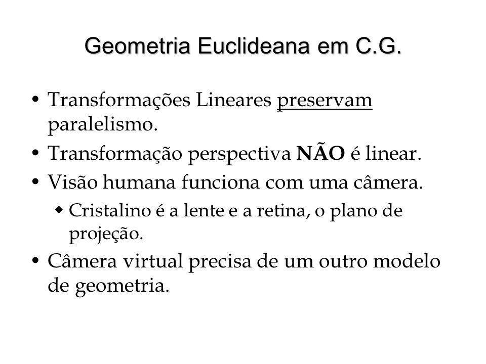 Geometria Euclideana em C.G.Transformações Lineares preservam paralelismo.
