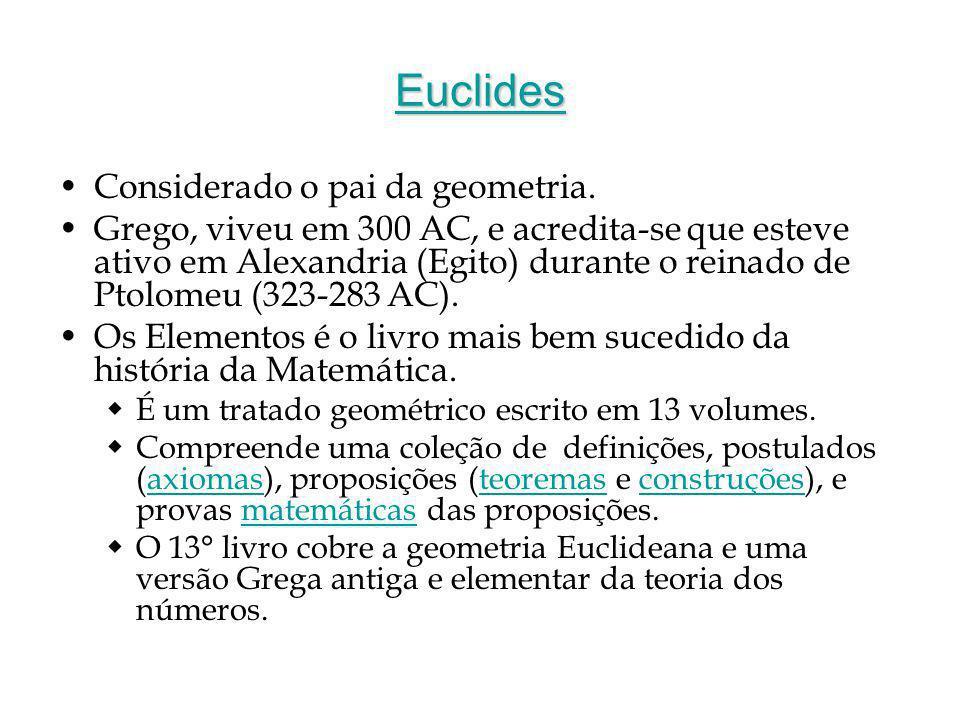 Euclides Considerado o pai da geometria.
