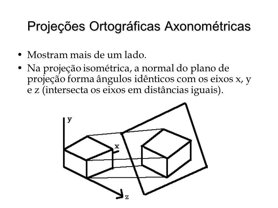 Projeções Ortográficas Axonométricas Mostram mais de um lado.