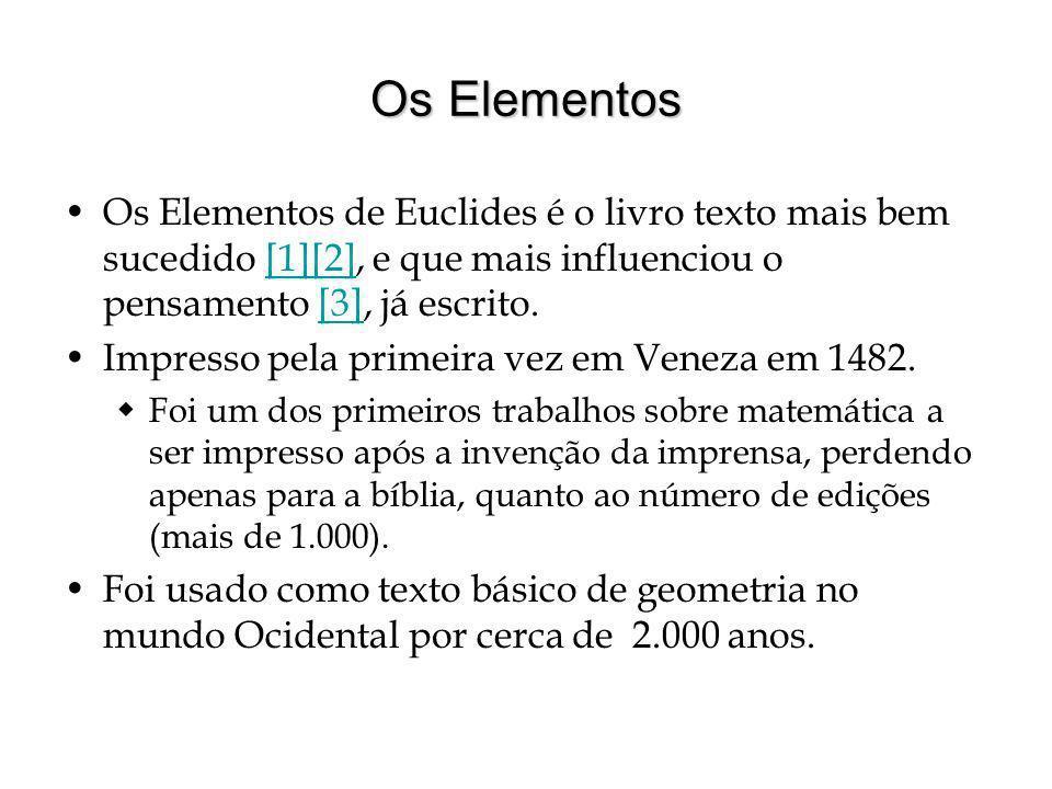 Os Elementos Os Elementos de Euclides é o livro texto mais bem sucedido [1][2], e que mais influenciou o pensamento [3], já escrito.[1][2][3] Impresso pela primeira vez em Veneza em 1482.