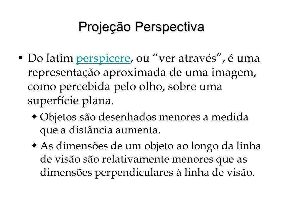 Projeção Perspectiva Do latim perspicere, ou ver através, é uma representação aproximada de uma imagem, como percebida pelo olho, sobre uma superfície plana.perspicere Objetos são desenhados menores a medida que a distância aumenta.