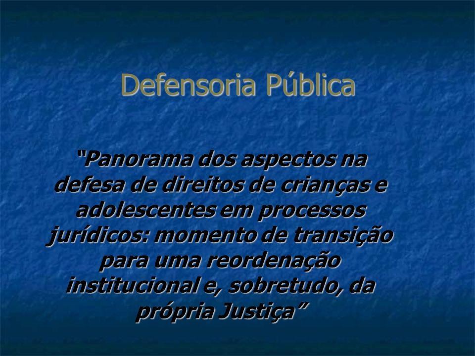 Defensoria Pública Panorama dos aspectos na defesa de direitos de crianças e adolescentes em processos jurídicos: momento de transição para uma reorde