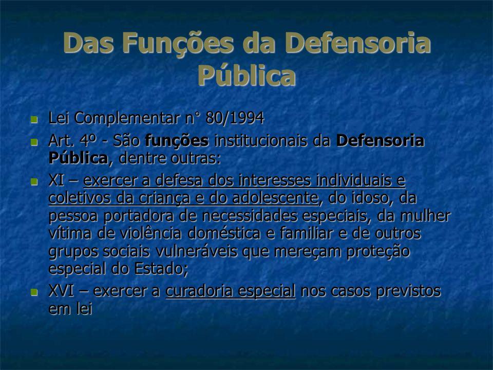 Das Funções da Defensoria Pública Lei Complementar n° 80/1994 Lei Complementar n° 80/1994 Art. 4º - São funções institucionais da Defensoria Pública,