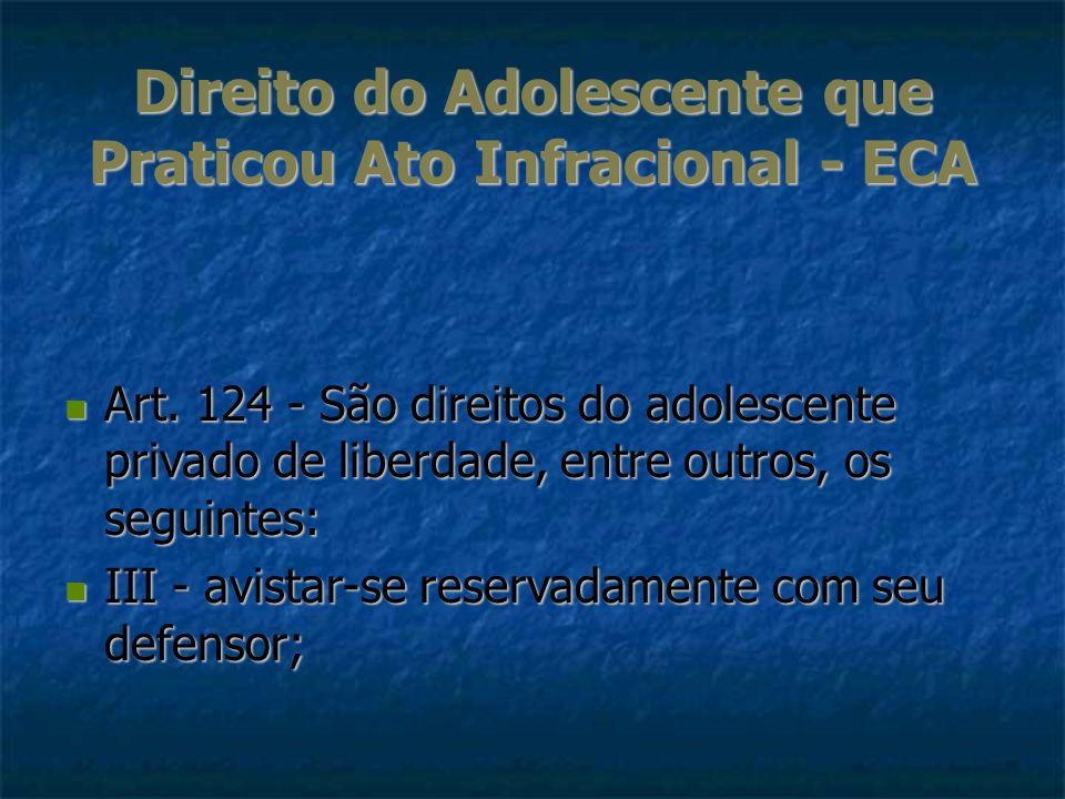 Direito do Adolescente que Praticou Ato Infracional - ECA Art. 124 - São direitos do adolescente privado de liberdade, entre outros, os seguintes: Art