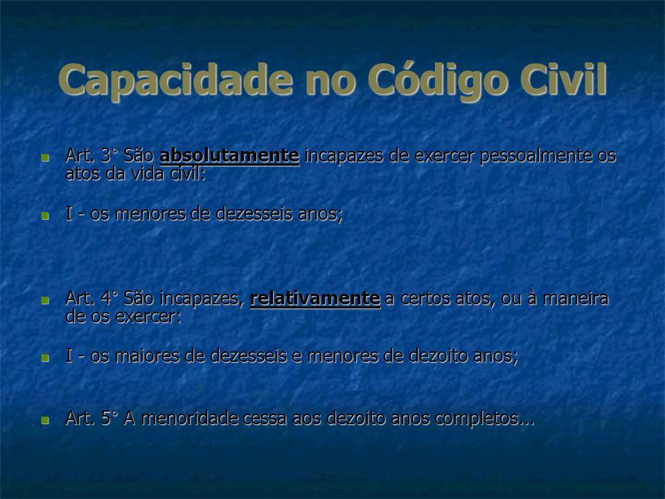 Capacidade no Código Civil Art. 3° São absolutamente incapazes de exercer pessoalmente os atos da vida civil: Art. 3° São absolutamente incapazes de e