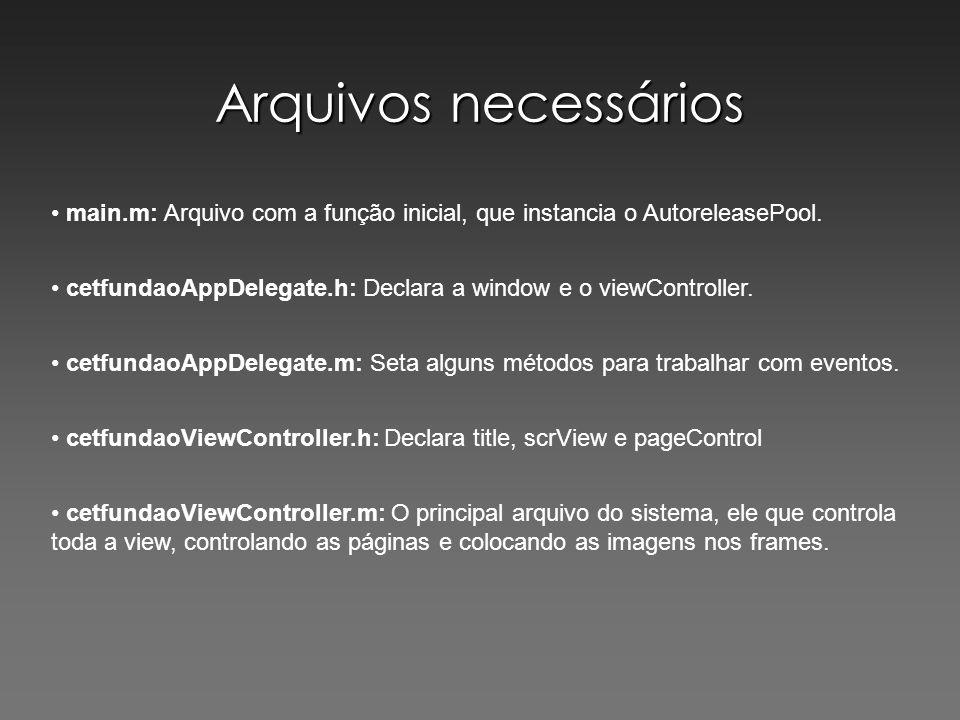 Arquivos necessários main.m: Arquivo com a função inicial, que instancia o AutoreleasePool. cetfundaoAppDelegate.h: Declara a window e o viewControlle