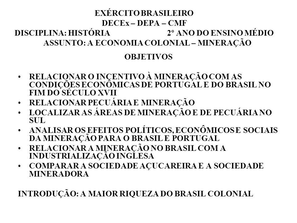 EXÉRCITO BRASILEIRO DECEx – DEPA – CMF DISCIPLINA: HISTÓRIA 2º ANO DO ENSINO MÉDIO ASSUNTO: A ECONOMIA COLONIAL – MINERAÇÃO OBJETIVOS RELACIONAR O INC