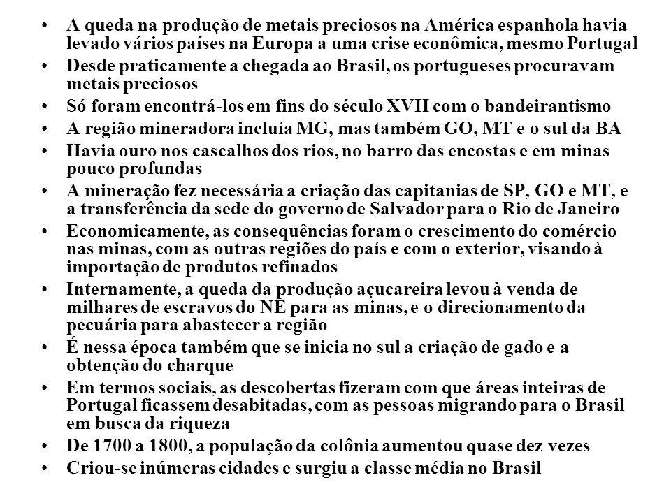 A queda na produção de metais preciosos na América espanhola havia levado vários países na Europa a uma crise econômica, mesmo Portugal Desde praticam