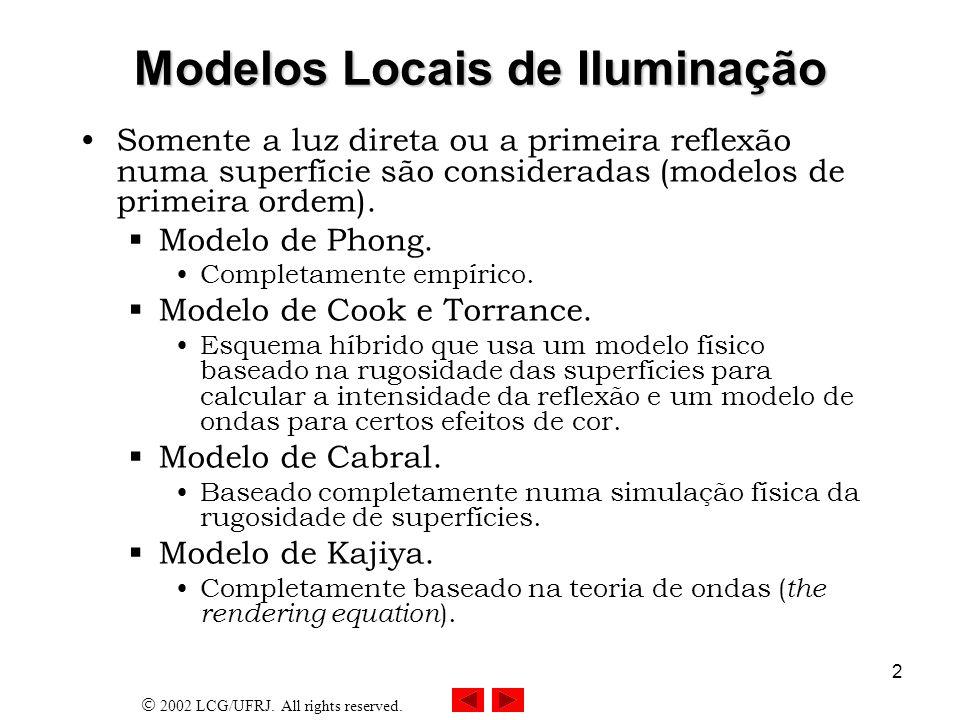 2002 LCG/UFRJ.All rights reserved. 3 Modelos Globais de Iluminação Traçado de raios.