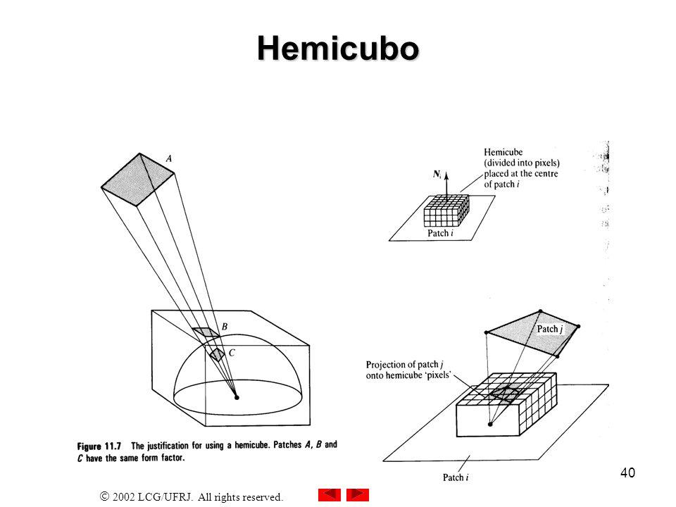 2002 LCG/UFRJ.All rights reserved. 41 Oclusão Todo retalho de superfície é projetado no hemicubo.