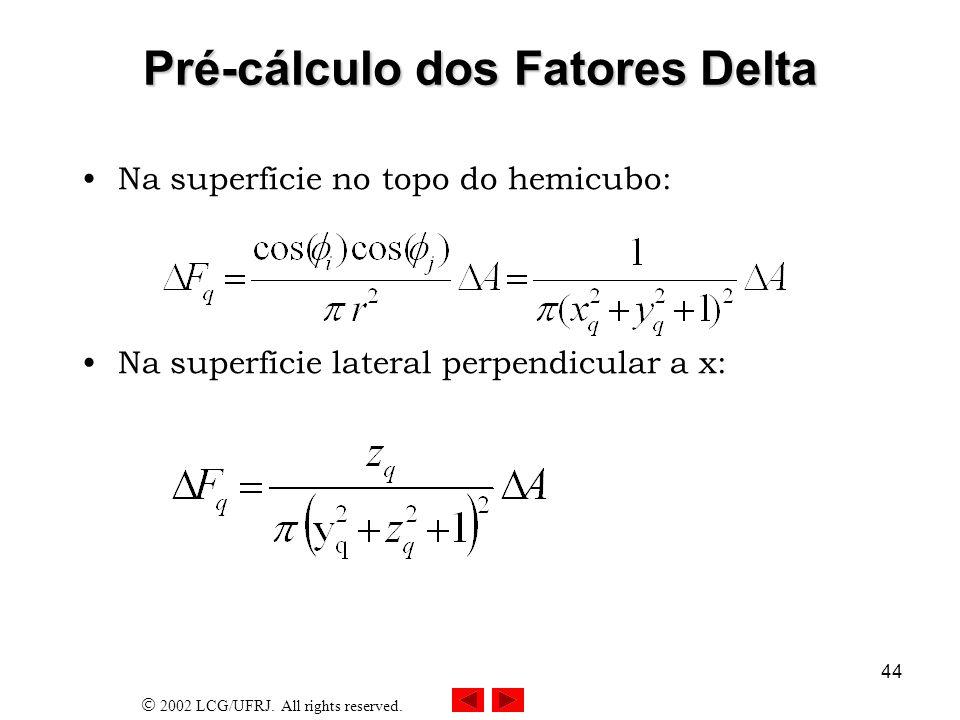 2002 LCG/UFRJ. All rights reserved. 45 Geometria para Cálculo dos Fatores Delta x