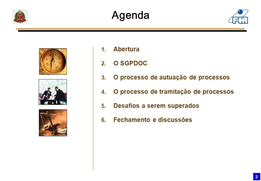 2 Agenda 1. Abertura 2. O SGPDOC 3. O processo de autuação de processos 4. O processo de tramitação de processos 5. Desafios a serem superados 6. Fech
