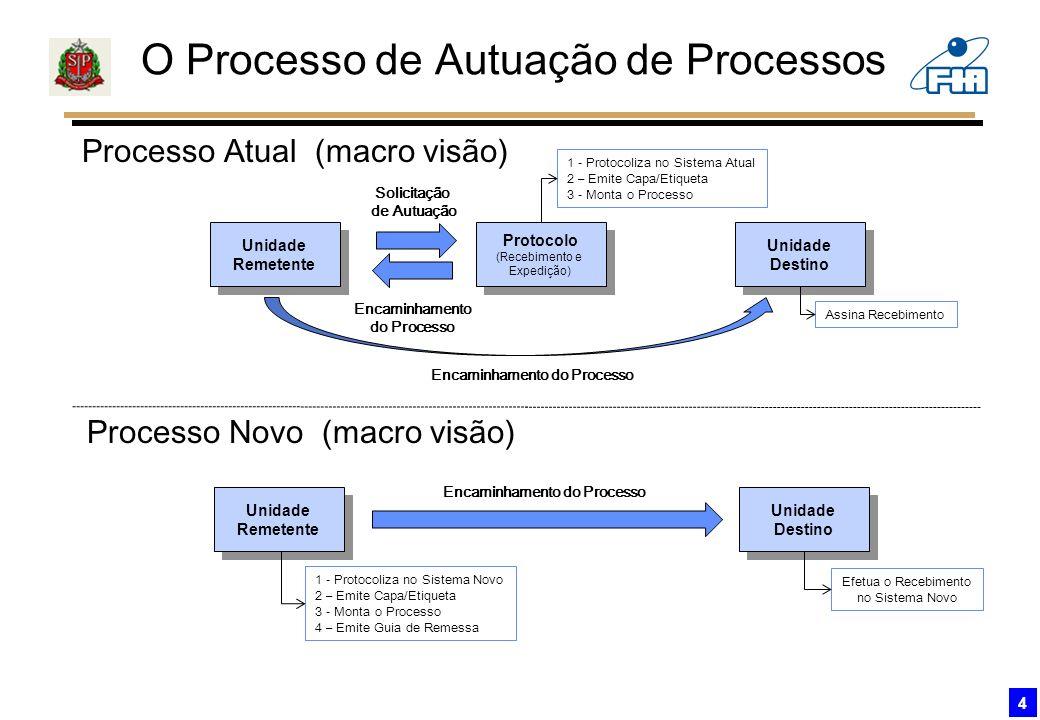 O Processo de Autuação de Processos 4 Unidade Remetente Unidade Remetente Processo Atual (macro visão) Protocolo (Recebimento e Expedição) Protocolo (