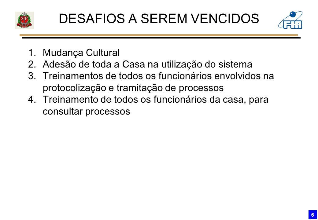 6 DESAFIOS A SEREM VENCIDOS 1.Mudança Cultural 2.Adesão de toda a Casa na utilização do sistema 3.Treinamentos de todos os funcionários envolvidos na