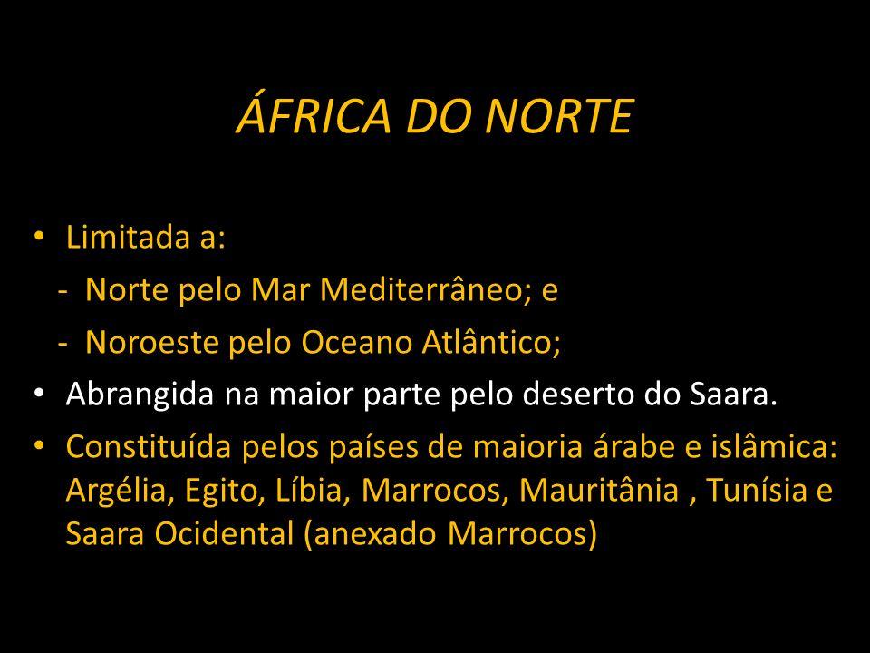 ÁFRICA DO NORTE Limitada a: - Norte pelo Mar Mediterrâneo; e - Noroeste pelo Oceano Atlântico; Abrangida na maior parte pelo deserto do Saara. Constit