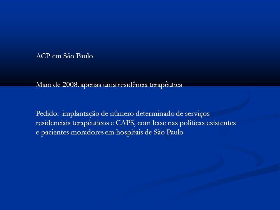 ACP em São Paulo Maio de 2008: apenas uma residência terapêutica Pedido: implantação de número determinado de serviços residenciais terapêuticos e CAP