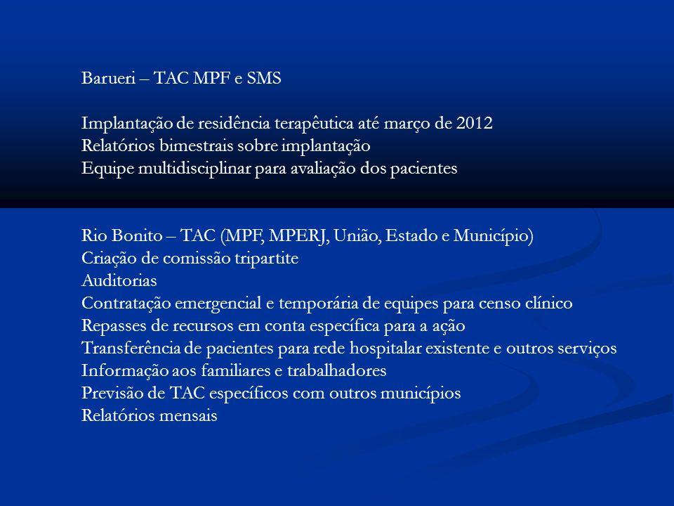 Barueri – TAC MPF e SMS Implantação de residência terapêutica até março de 2012 Relatórios bimestrais sobre implantação Equipe multidisciplinar para a