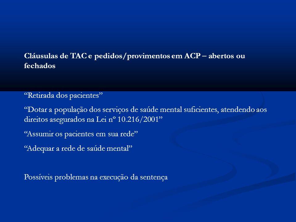 Cláusulas de TAC e pedidos/provimentos em ACP – abertos ou fechados Retirada dos pacientes Dotar a população dos serviços de saúde mental suficientes,