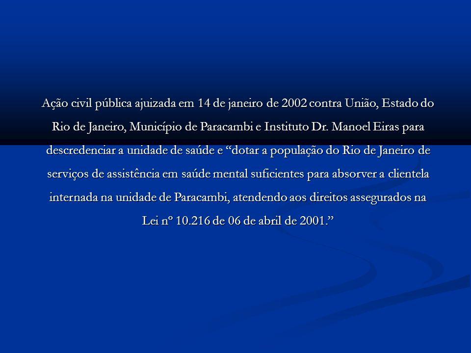 Ação civil pública ajuizada em 14 de janeiro de 2002 contra União, Estado do Rio de Janeiro, Município de Paracambi e Instituto Dr. Manoel Eiras para