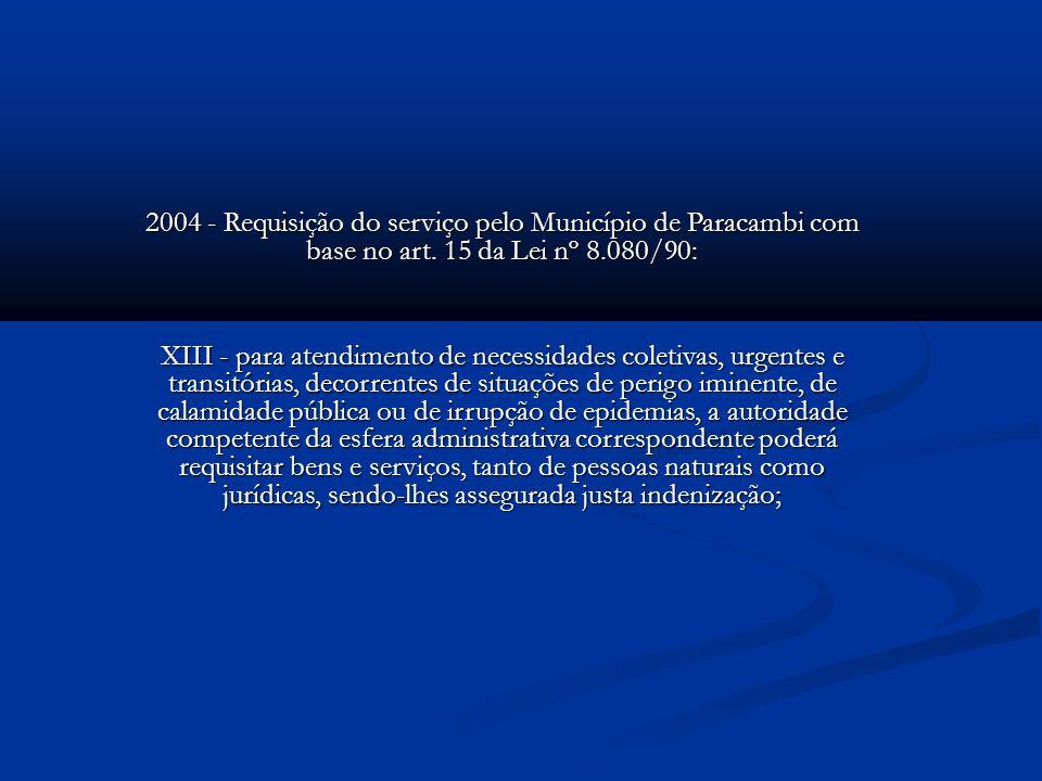 2004 - Requisição do serviço pelo Município de Paracambi com base no art. 15 da Lei nº 8.080/90: XIII - para atendimento de necessidades coletivas, ur