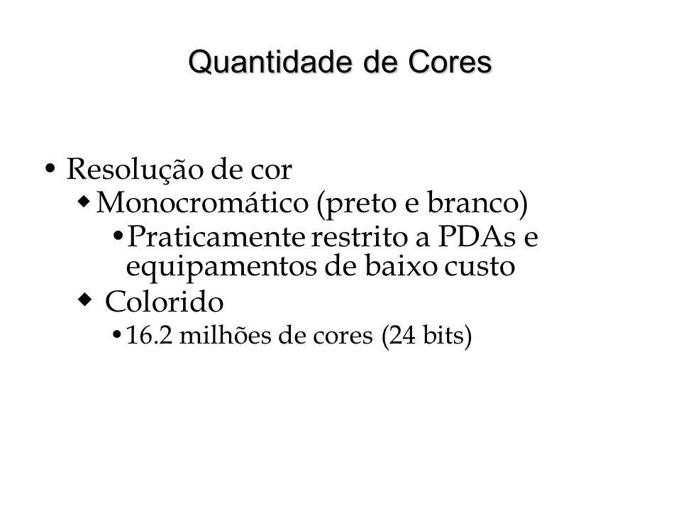 Quantidade de Cores Resolução de cor Monocromático (preto e branco) Praticamente restrito a PDAs e equipamentos de baixo custo Colorido 16.2 milhões d