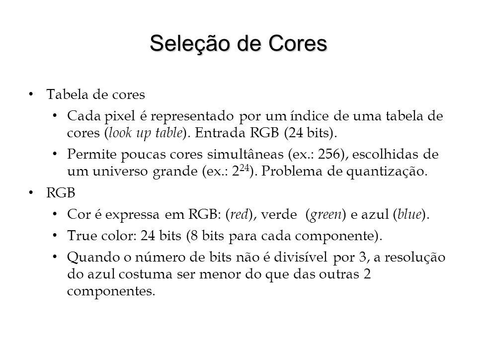 Seleção de Cores Tabela de cores Cada pixel é representado por um índice de uma tabela de cores ( look up table ). Entrada RGB (24 bits). Permite pouc