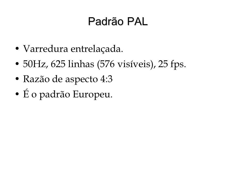 Padrão PAL Varredura entrelaçada. 50Hz, 625 linhas (576 visíveis), 25 fps. Razão de aspecto 4:3 É o padrão Europeu.