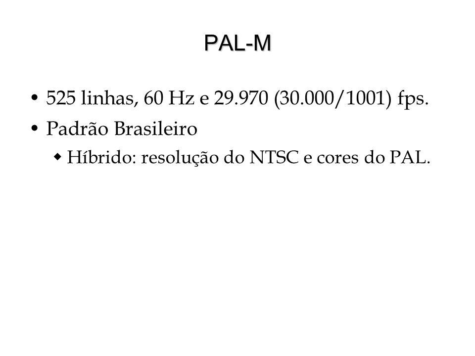 PAL-M 525 linhas, 60 Hz e 29.970 (30.000/1001) fps. Padrão Brasileiro Híbrido: resolução do NTSC e cores do PAL.