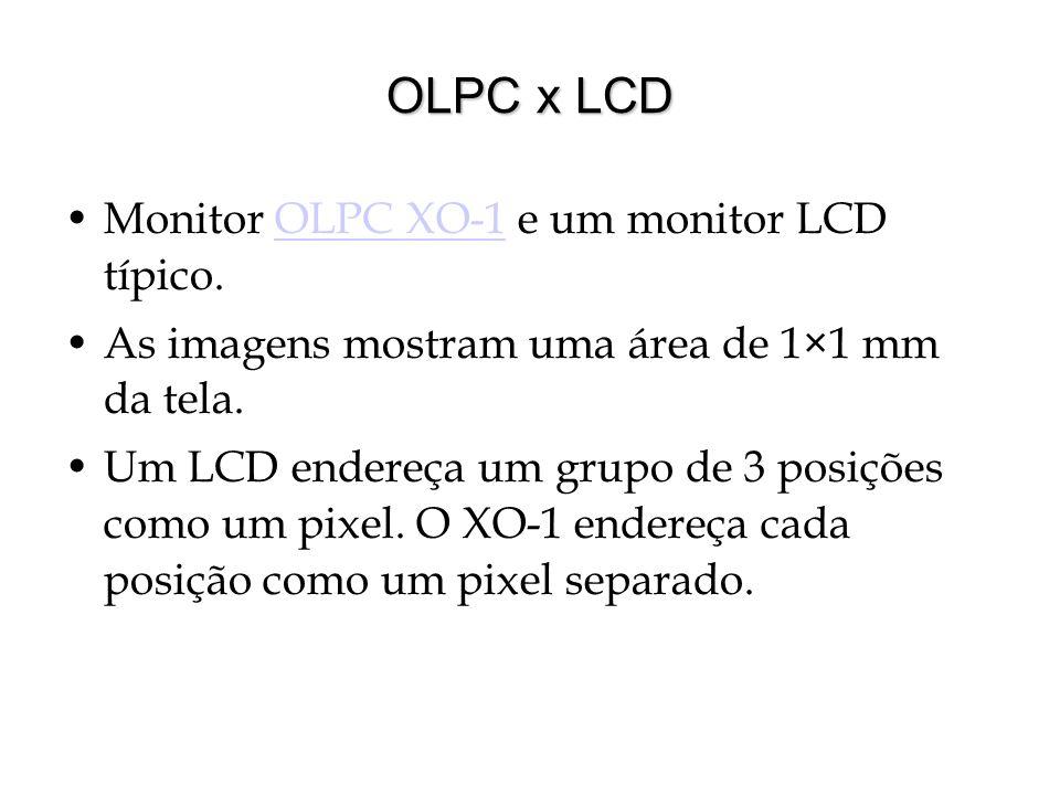 OLPC x LCD Monitor OLPC XO-1 e um monitor LCD típico.OLPC XO-1 As imagens mostram uma área de 1×1 mm da tela. Um LCD endereça um grupo de 3 posições c