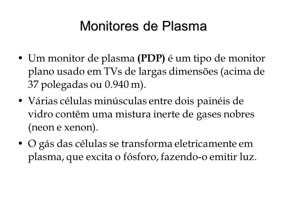 Monitores de Plasma Um monitor de plasma (PDP) é um tipo de monitor plano usado em TVs de largas dimensões (acima de 37 polegadas ou 0.940 m). Várias