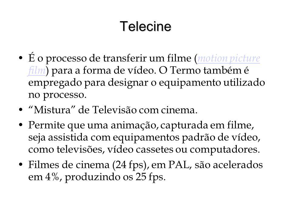 Telecine É o processo de transferir um filme ( motion picture film ) para a forma de vídeo. O Termo também é empregado para designar o equipamento uti