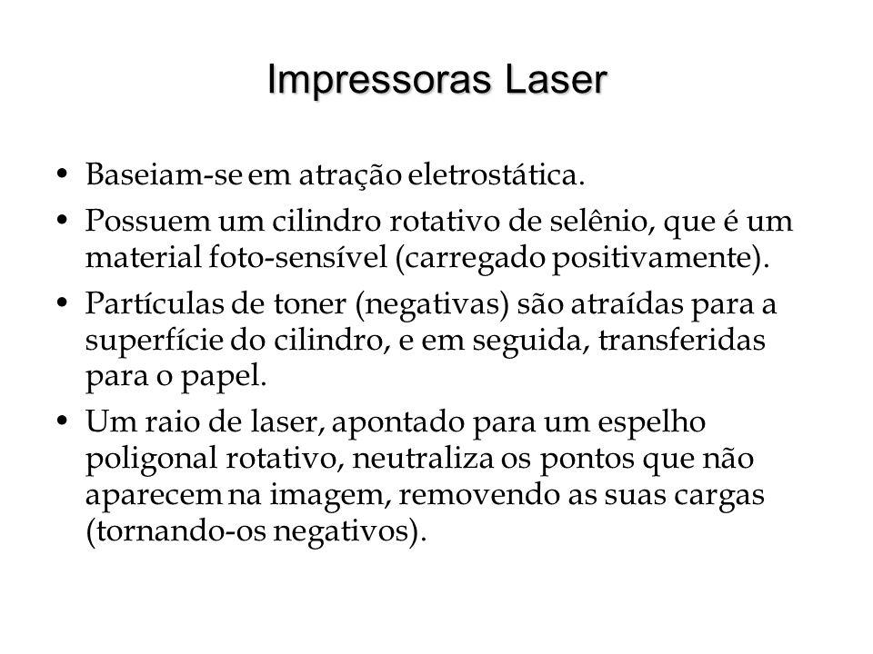 Impressoras Laser Baseiam-se em atração eletrostática. Possuem um cilindro rotativo de selênio, que é um material foto-sensível (carregado positivamen