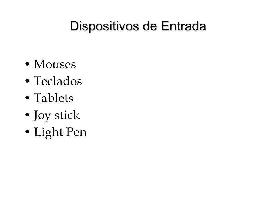Dispositivos de Entrada Mouses Teclados Tablets Joy stick Light Pen
