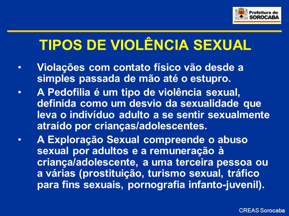 TIPOS DE VIOLÊNCIA SEXUAL Violações com contato físico vão desde a simples passada de mão até o estupro. A Pedofilia é um tipo de violência sexual, de
