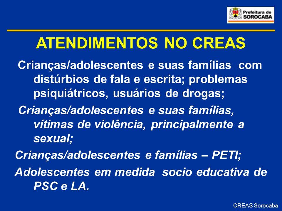 ATENDIMENTOS NO CREAS Crianças/adolescentes e suas famílias com distúrbios de fala e escrita; problemas psiquiátricos, usuários de drogas; Crianças/ad
