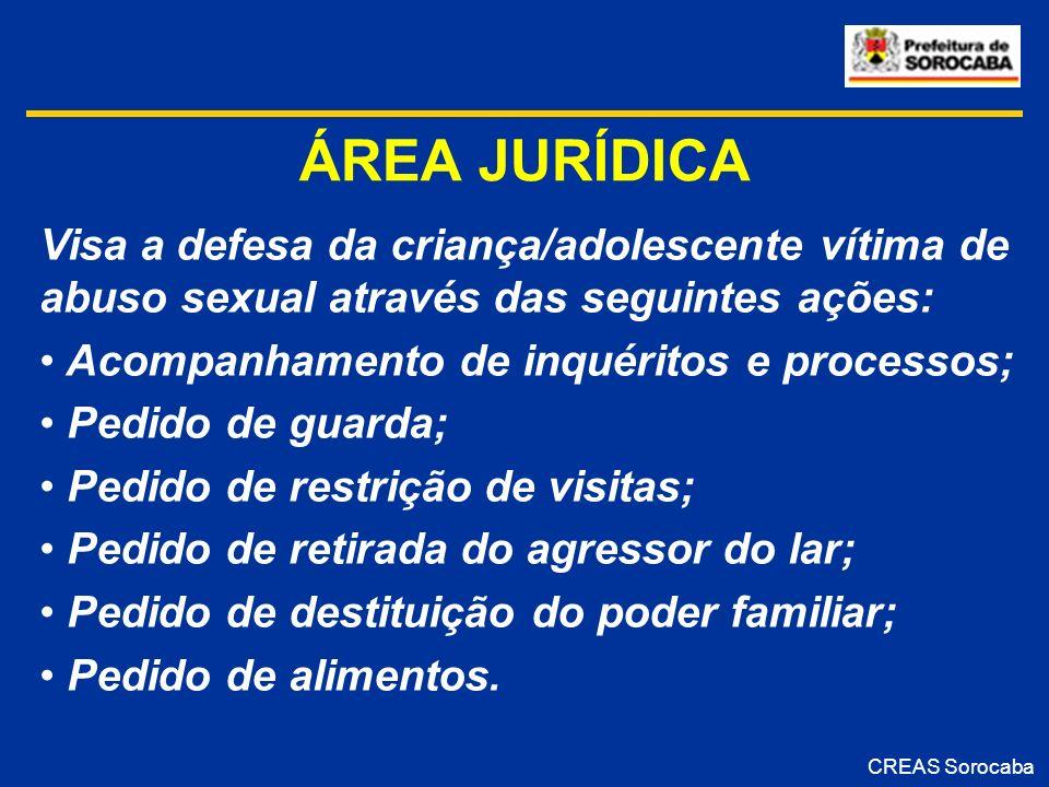 ÁREA JURÍDICA Visa a defesa da criança/adolescente vítima de abuso sexual através das seguintes ações: Acompanhamento de inquéritos e processos; Pedid
